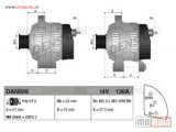 Alternator Opel, Saab, 130 A, 62 mm